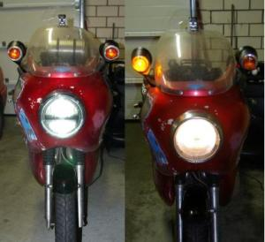 New LED head lamp (left) compared to classic H4 bulb (right). 22 W vs. 55W