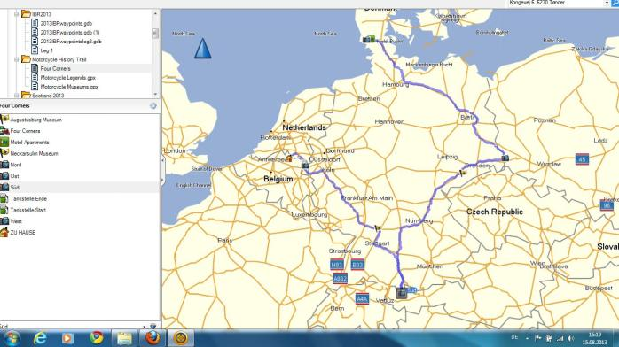 Planned route for the Four Corners Ride