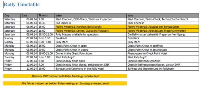 Rally timetable