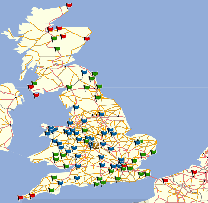 Categorised bonus point locations. Rally start, checkpoint and finish in Coventry. Red: high points value. Green: middle. Blue: low.