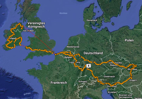 My GPS track from the European Tour 2016. Obviously the spotwalla server was down when I crossed Great Britain, because the same happen with both devices.