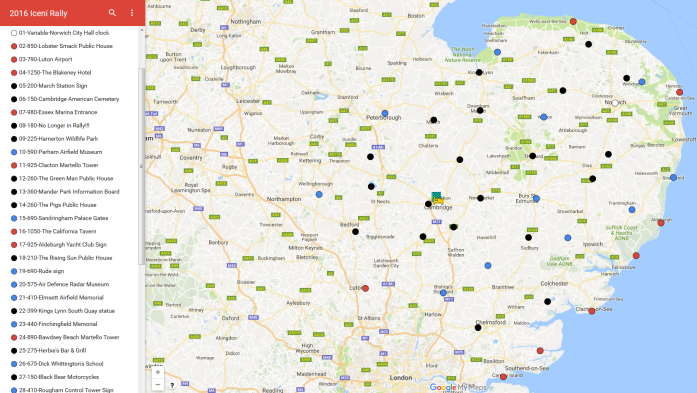 The bonus point locations of the Iceni Rally 2016